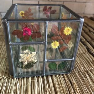 Cottagecore Glass Pressed Flowers Candle Holder